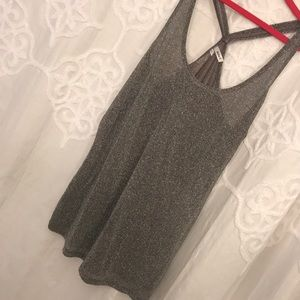 Silver sparkly metallic tank top